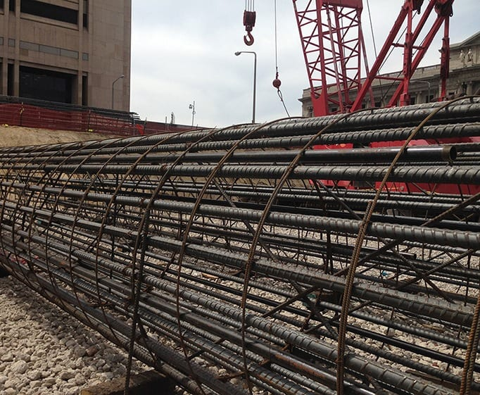 Whitacre Engineering rebar work on Hilton Hotel Convention Center in Cleveland